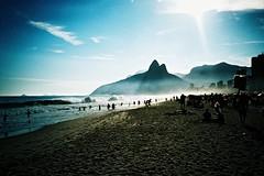 Rio de Janeiro (cranjam) Tags: ocean brazil mountains film beach rio riodejaneiro lomo lca xpro lomography kodak slide unesco worldheritagesite atlanticocean spiaggia brasile ipanema doisirmos twobrothers elitechrome100 vidigal oceanoatlantico