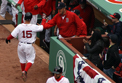Pedey scores (ConfessionalPoet) Tags: baseball redsox highfive manager score dugout 2b secondbaseman dustinpedroia johnfarrell openingday2016
