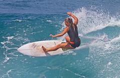 power turn (bluewavechris) Tags: ocean sea water speed turn fun hawaii surf power ride action surfer maui spray surfboard thebay swell honoluabay surfergirl honolua