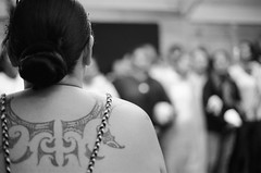Tattoo (Jim Davies) Tags: newzealand slr film monochrome analog 35mm photography rotorua dancers kodak ceremony olympus om10 northisland analogue aotearoa whakarewarewa 400asa bw400cn c41 chromogenic mori veebotique