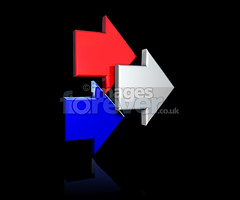 Red White And Blue Arrows (the UMF) Tags: blue red white black reflection illustration contrast point 3d floating illustrative direction reflective strong arrow shape simple direct