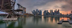 Skyline shot under Helix Bridge (Ken Goh thanks for 2 Million views) Tags: lighting bridge sunset sky panorama reflection nature water colors museum landscape lights flyer colorful long exposure pentax district central sigma business cbd helix 1020 hdr mbs citiscape artscience k5iis