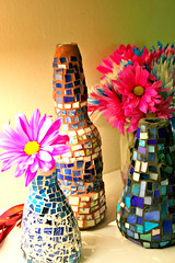 Bohemian Style Mosaic Bottles - Set of 3 (EarthMotherMosaics) Tags: bottles recycled repurposed reused bottleart upcycled mosaicart earthmothermosaics aftcra