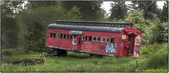 Red Rail Car (NoJuan) Tags: red panorama abandoned stitch neglected olympus panoramic railcar adapter m42 photostitch penf lensadapter stitchedpanorama mamiyasekor m42screwmount micro43 microfourthirds microfourthirdswithalternativelens microfourthirdswithmanualfocuslens penfwithmamiyalens 50mmf2mamiyasekor