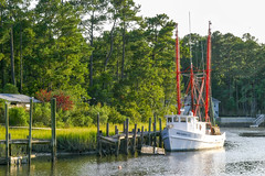 Shrimp Boat (rihaje588) Tags: ocean sunset seascape beach pier nc sand marine northcarolina maritime marsh seagrass saltwater shrimpboat