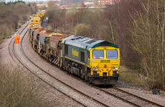 Freight liner Class 66/5 no 66550 at Boughton on the Network Rail Test Track with a track re-laying consist on 29-03-2016 (kevaruka) Tags: uk greatbritain england cloud color colour colors clouds composition train canon march countryside spring flickr colours cloudy unitedkingdom rail railway trains explore gb 5d locomotive frontpage nottinghamshire ollerton testtrack engineers boughton cloudyday freightliner class66 networkrail railfreight 66550 railnetwork canon5dmk3 5dmk3 5d3 ldecr 5diii canon70200f28ismk2 canoneos5dmk3 ilobsterit