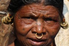 Trip through Orissa and Chhattisgarh (sensaos) Tags: travel woman india face up asia close culture tribal ethnic orissa cultural indigenous cultur 2013 odisha sensaos