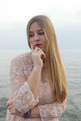 Soft thinker (powerofflower) Tags: pink blue sea portrait sky girl beautiful look pose hair eyes soft long lips pale thinking blonde mermaid gentle