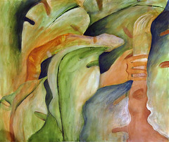 Painting of a snake in a philodendron (elizabatz.jensen) Tags: art painting paper hands acrylic snake philodendron