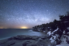 Winter Way (andrewpmorse) Tags: longexposure winter sky lake ontario canada cold water night canon stars cliffs brucepeninsula lakehuron milkyway 6d rokanon14mm