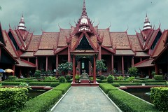 National Museum of Cambodia, Phnom Penh (pooly7) Tags: travel roof red sky building travelling museum architecture clouds asia cambodia moody outdoor spires courtyard tourist symmetry phnompenh inspiring