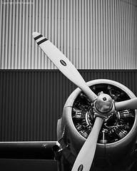 vertical - diagonal (Furcletta) Tags: metal museum airplane switzerland blackwhite outdoor wing engine luzern che propeller blades fragment verkehrshaus douglasdc3 museumoftransport 85mm18g