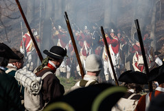 A revolution begins (trochford) Tags: usa history canon eos war exterior outdoor lexington massachusetts smoke newengland battle historic american revolution soldiers muskets british revolutionarywar militia concord americanrevolution minutemen reenactment troops redcoats minuteman gunfire 1775 april19 colonists patriotsday towerpark lexingtonma lexingtonmassachusetts