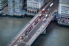 London Bridge (Linda Court) Tags: road city bridge england people london cars buses thames londonbridge walking lights view traffic lorry queue redlight riverthames trafficjam birdseyeview taillight londonbus viewfromshard