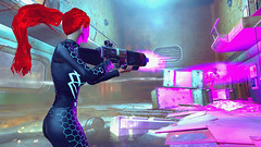 598 (Beth Amphetamines) Tags: pink cambridge wallpaper screenshot mix holding pretty hand purple rifle redhead beam synth labs laser ponytail flowing dying blast lazer lizzy cybernetic polymer n7 raider fallout4 vaultsuit