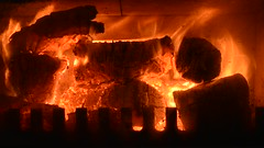 End of April and the fire's lit (Keartona) Tags: england fire timelapse video spring fireplace flames logs april embers