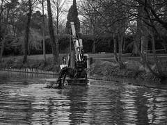 Salix Dredger in Mary Stevens Park Stourbridge (sabphoto69) Tags: park leica friends white lake black pool monochrome mud wildlife mary country stevens council dudley digger dredging stourbridge dredger sailx
