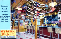 Londhorn Ranch Saloon Albuquerque NM (Edge and corner wear) Tags: new museum bar vintage mexico restaurant cattle display postcard lounge horns 66 ceiling route nm curios colelction