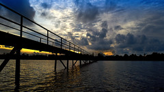 Bridge... (mehtasunil) Tags: travel bridge blue light sunset sky cloud water architecture landscape leicacamera bentota leicalens leicaq srilanca srilana leicaimage