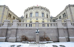 Oslo_Christmas_2015_III (LyonelPerabo) Tags: old city winter urban white snow building art history ice church yellow oslo norway statue stone architecture bronze landscape grey norge town ancient december outdoor snowy politics union capital architectural historic christian norwegian politician classical christianity icy protestant xix politic 1905 ting 2015 parliement storting statechurch xixthcentury stland michelsen xixth
