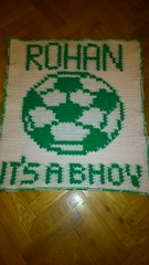 Celtic football blanket for Rohan (dochol) Tags: cute wool football handmade soccer crochet craft yarn blanket afghan bebe celtic alphabet manta personalised croche bhoys crochethooks babybalanket haakenwert