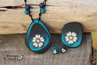 Polymer clay necklace, ring and stud earrings