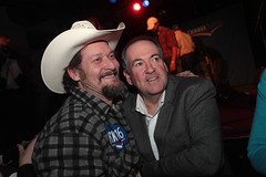 Mike Huckabee with supporter (Gage Skidmore) Tags: mike president rally iowa josh governor arkansas turner caucus 2016 huckabee