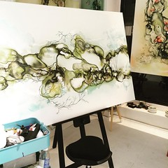 Painting in progress - abstrakt maleri (Rikke Darling) Tags: modern painting abstractart colorfull kunst fineart moderne abstrakt maleri colourfull malerier galleri abstrakte salg bioart kb kunstgalleri farverigt