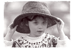 Another hat (jayneboo) Tags: portrait bw hat mono child roni prop 366 52weeksof2016 366in2016 inthepropbox