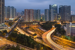 Kowloon Bay, Hong Kong (mikemikecat) Tags: building bus ferry shopping hongkong bay pier twilight estate nightscape sony centre cityscapes depot lighttrails nightview choi  kowloon  tak terminus   carlzeiss kowloonbay kbd  a7r     sel1635z fe1635mm mikemikecat