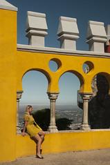 Portugal - Lisbon - Sintra - Pena National Palace 23_DSC1127 (Darrell Godliman) Tags: travel copyright woman building tourism portugal girl architecture nikon europe lisboa lisbon sintra eu palace wife pena ochre allrightsreserved royalpalace penapalace penanationalpalace instantfave omot flickrelite dgphotos darrellgodliman wwwdgphotoscouk d300s nikond300s dgodliman portugallisbonsintrapenanationalpalace23dsc1127