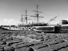 HMS Warrior (brightondj - getting the most from a cheap compact) Tags: bw boat war ship harbour victorian portsmouth mast steamship cobbles hmswarrior thehard