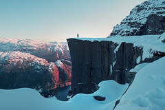 (ystein Aspelund) Tags: winter sunset snow cold nature colors norway landscape norge natur nordic cliffhanger preikestolen togetheralone