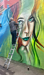 Wall Mural (photographyguy) Tags: building art wall artwork eyes alley mural colorado artist denver spraypaint ladder cellphonephotography northcapitolhill uptowndenver