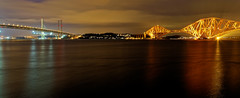 The Forth Bridges (Rifle-Coach) Tags: longexposure sea seascape water night scotland seaside nightscape shoreline bridges forth firthofforth