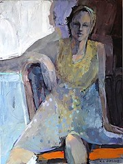Evening Shadows,  Acrylic on canvas, c.2011 // by Karen Darling (mike catalonian) Tags: portrait canada female painting fulllength 2011 2010s karendarling