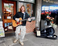 Rick Harkewicz, the Mad Scientist,  Rogue Poet (jiff89) Tags: seattle flowers music man downtown place guitar live rich rick taylor poet busker rogue pike mad scientist 2016 harkewicz harhewicz