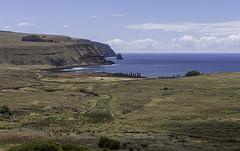 Tongariki from Rano Raraku (blueheronco) Tags: pacificocean moai easterisland rapanui isladepascua ahu ahutongariki tongariki ranoraraku poike hotuiti rapanuinationalpark motumarotiri hutuitibay