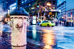 After The Rain (Sean Batten) Tags: sanfrancisco california road street city urban usa wet water car rain night america 35mm lights us nikon unitedstates taxi streetphotography firehydrant nighttime shops marketstreet d800