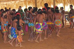 Embera Indians Dancing in the Assembly Hall, Jungles of Panama (Joseph Hollick) Tags: jungle panama embera emberaindians
