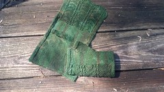20160424_104337 (chaotick) Tags: brown green wool knitting silk yarn dyed fingering knitty mitts knitpicks overdyed