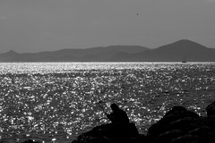 "Vitamin ""sea"" (Michail Kalognomos) Tags: light sea sky sun man reflections seaside fisherman rocks noir waterfront gull greece sail vitamin floisvos ef24105mmf4l canoneos70d"