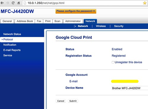 BrotherMFC-J4420DW Google Cloud Print by Wesley Fryer, on Flickr