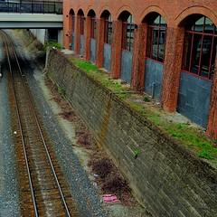 Forgotten Corridor (MPnormaleye) Tags: railroad urban building brick abandoned stone wall square weeds tracks cities transportation utata weathered 24mm