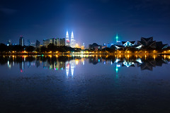 Kuala lumpur skyline (Krunja) Tags: city travel blue light sky urban panorama lake reflection building tower tourism water skyline architecture modern night skyscraper landscape office high twilight scenery asia downtown cityscape view dusk district centre capital petronas towers twin landmark center scene business commercial malaysia destination tall kuala kualalumpur copyspace kl metropolitan klcc lumpur my wilayahpersekutuankualalumpur