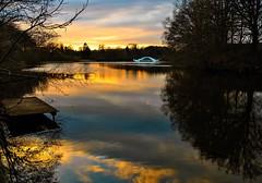 the small bridge (Explored) (claudia.kiel) Tags: bridge sunset lake silhouette landscape twilight sonnenuntergang lakeside dmmerung brcke landschaft reflexion spiegelung rosenfeld schwentine rosensee olympusem10