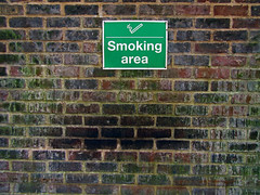 school smoking area (maximorgana) Tags: school brick green wall worthing dirty smoking area language mould signal damp cigarrette trashbit