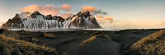Vestrahorn Mountain (Ray Jennings AU) Tags: sunset panorama seascape beach landscape blacksand iceland vestrahorn stokksnes nikond810 sigma35mm14