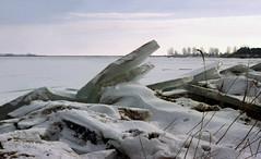 IJsselmeer, ijsschotsen van kruiend ijs, winter 1996 (wally nelemans) Tags: holland 1996 nederland thenetherlands icefloes marken ijsselmeer ijsschotsen kruiendijs