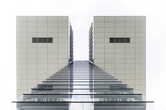 Isolation (Maerten Prins) Tags: white abstract reflection geometric glass architecture contrast germany square mirror geometry cologne köln symmetry edge hafen duitsland keulen upshot explored